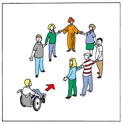 symbol of 7 people standing in a circle holding hands. A person in a wheelchair is coming towards them to be included in the circle