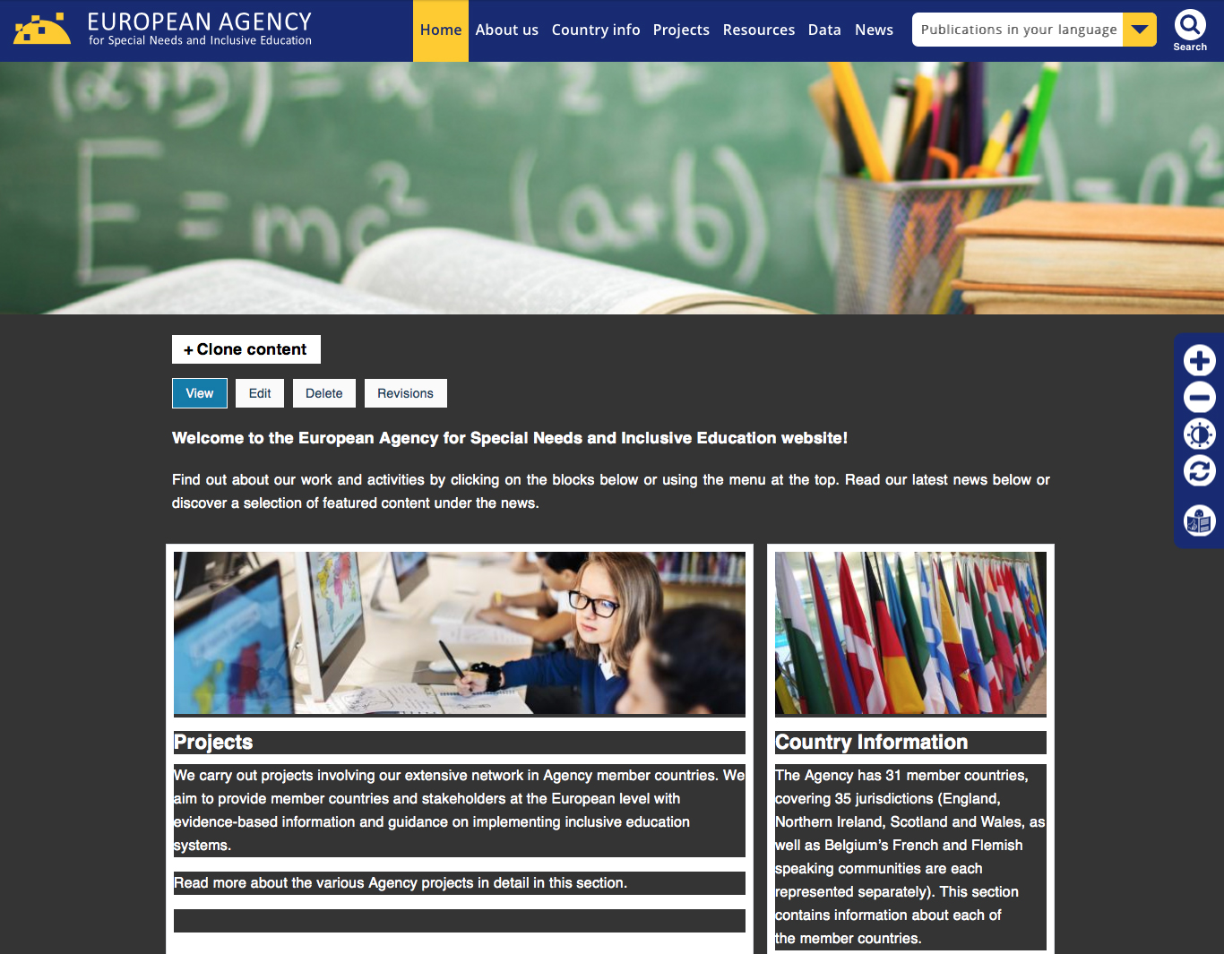 image showing the agency home page with dark contrast background