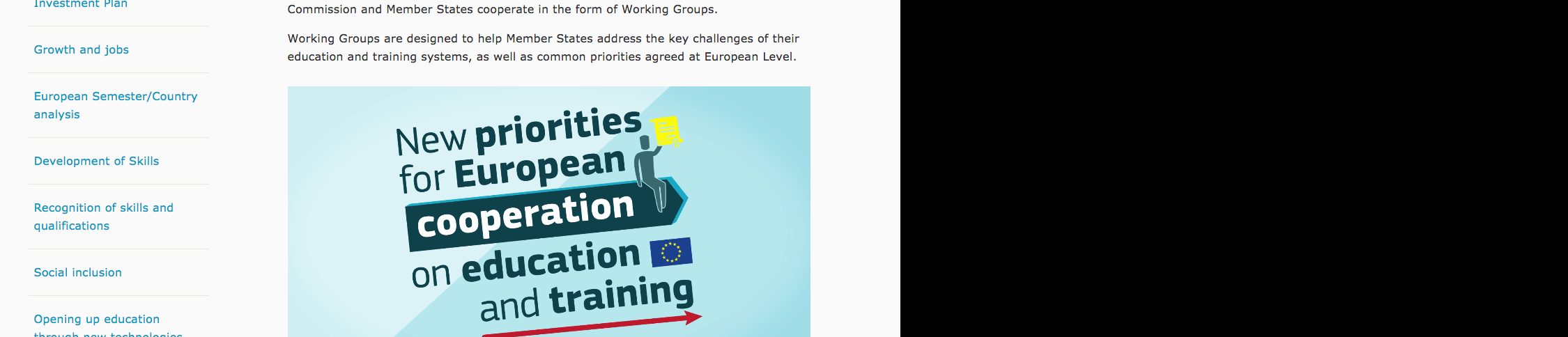 Screenshot of the Working Groups web area on the Education and Training website