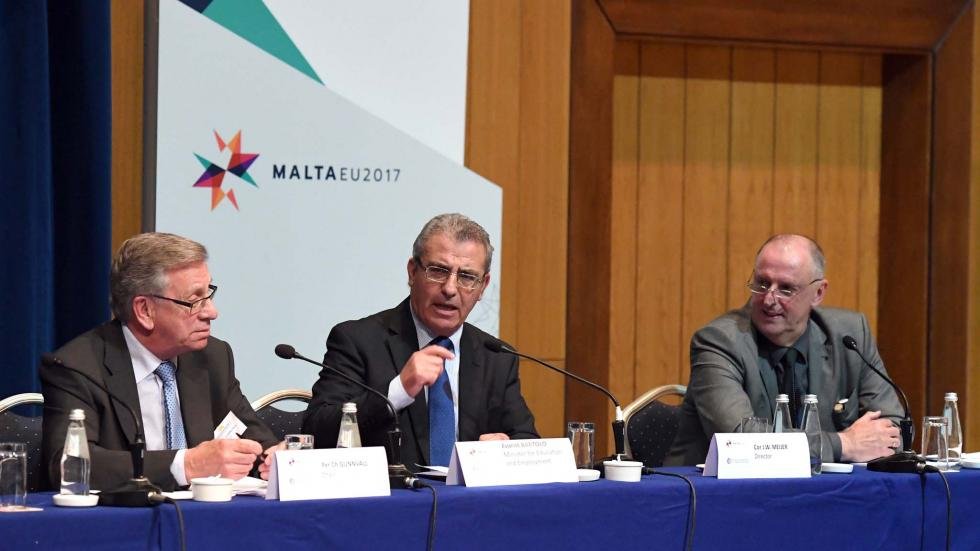 Mr Per Ch Gunnvall, Agency Chair, Mr Evarist Bartolo, Malta's Minister for Education and Employment, and Mr Cor Meijer, Agency Director