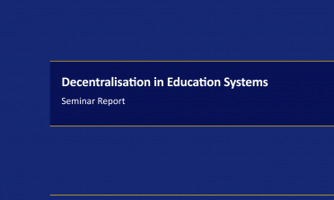 cover for the Decentralisation in Education Systems – Seminar Report