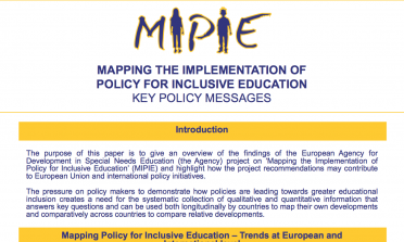 image showing the Mapping the Implementation of Policy for Inclusive Education – Key policy messages