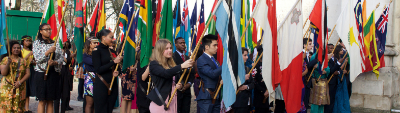 group of people holding European flags