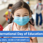 International Day of Education webpage image of a girl in a face mask