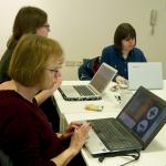 test users using magnifying tool during user testing