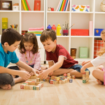 children play with building blocks