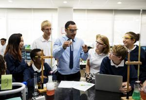 young people in a science classroom