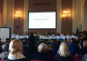 student choir from Rosmini school performing during the Rome project visit